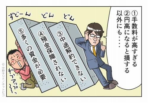 ①手数料が高すぎる ②円高になると損する それ以外にも‥‥