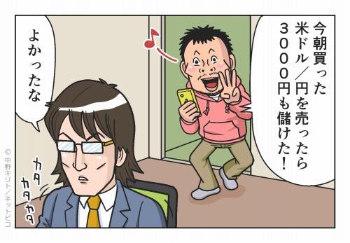 今朝買った米ドル/円を売ったら3千円も儲けた!