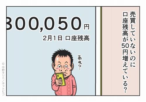 売買していないのに口座残高が50円増えている?