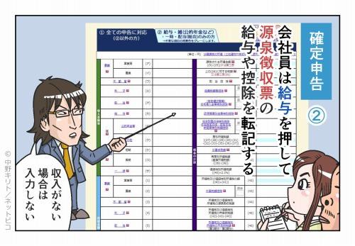 確定申告② 会社員は給与を押して 源泉徴収票の給与や控除を転記する