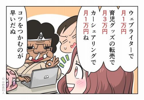 ウェブライターで月1万円 育児グッズの転売で月3万円 カーシェアリングで月1万円ね