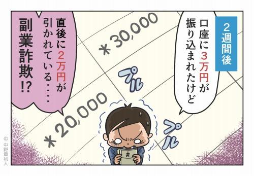 2週間後 口座に3万円が振り込まれたけど 直後に2万円が引かれている‥‥ 副業詐欺!?