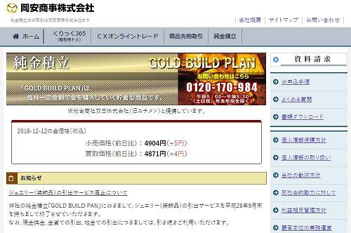 岡安商事(GOLD BUILD PLAN)- 金ミニ取引や金限日取引も提供