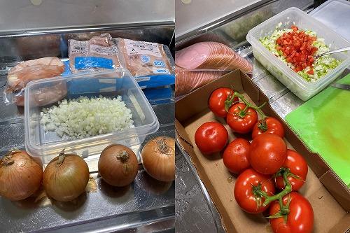 サルサ用の玉ねぎとトマト