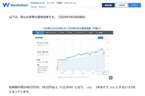 WealthNaviのCEOである柴山和久氏の2016年1月~2020年4月の運用実績