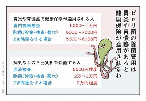 ピロリ菌の除菌費用は胃炎や胃潰瘍があると健康保険が適用されるわ