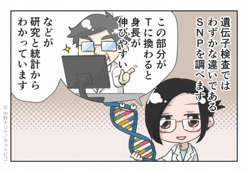 遺伝子検査ではわずかな違いであるSNPを調べます