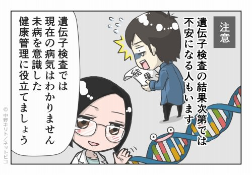 注意 遺伝子検査の結果次第では不安になる人もいます