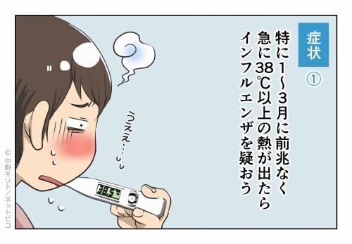 症状① 特に1~3月に前兆なく急に38℃以上の熱が出たらインフルエンザを疑おう
