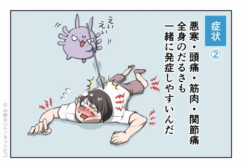 症状② 悪寒・頭痛・筋肉・関節痛 全身のだるさも一緒に発症しやすいんだ
