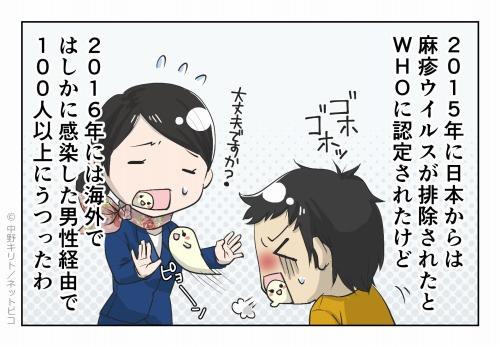 2015年に日本からは麻疹ウイルスが排除されたとWHOに認定されたけど 2016年には海外ではしかに感染した男性経由で100人以上にうつったわ