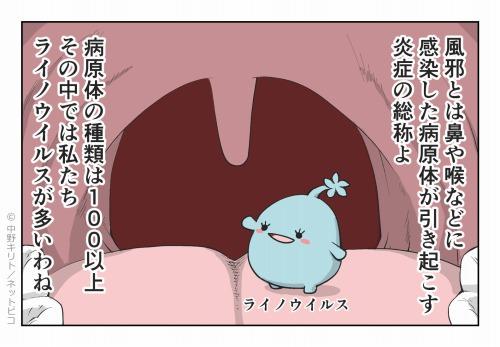 風邪とは鼻や喉などに感染した病原体が引き起こす炎症の総称よ