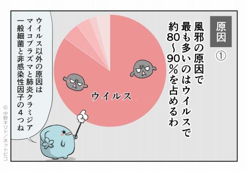 原因① 風邪の原因で最も多いのはウイルスで約80~90%を占めるわ