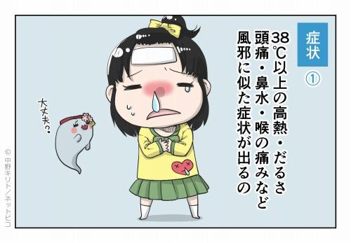 症状① 38℃以上の高熱・だるさ 頭痛・鼻水・喉の痛みなどの風邪に似た症状が出るの